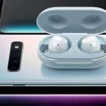 New Samsung Galaxy Buds wireless headphones in the photo
