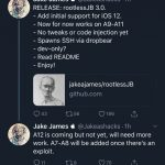 Jake James released a jailbreak rootlessJB 3.0 for iOS 12.0-12.1.2