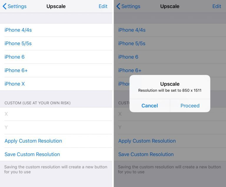 Change the screen resolution of your iPhone with the tweak Upscale