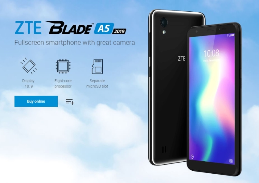 ZTE Blade A5 2019: Ultrabudget with a 5 45-inch 18: 9 screen and an