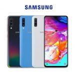 Das Samsung Galaxy A70 ist unterwegs: Auf einem Werbeplakat ist das Smartphone neben dem Galaxy A30 und dem Galaxy A50 zu sehen