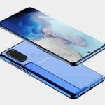 Samsung Galaxy S11e renderöinnissä: kolminkertainen kamera, näyttö pyöristetyillä reunoilla ja keskellä oleva aukko, kuten Galaxy Note 10