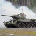 Reconstructed T-34 tanks from World War II hit the video