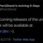 Pwn20wnd avasi virallisen unc0ver-vankila-sivuston