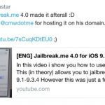 Tihmstar released JailbreakMe 4.0 for 32-bit devices with iOS 9.1-9.3.4