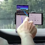 The video shows an unusual LG smartphone with a rotating screen