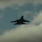 The video showed a highly maneuverable battle on Su-35S fighters