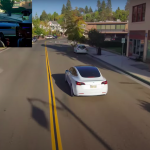 Drone filmed Tesla electric car moving on full autopilot