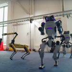 Four robots of different kinds danced to the hit of the sixties