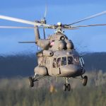 Shows joint maneuvers of Russian and American combat helicopters