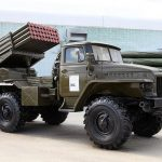 Showing the firing of Russian multiple launch rocket systems in the Arctic