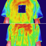 Double-sided fabric heats up on one side and cools down on the other