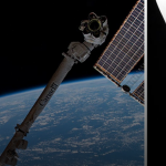 Dragon cargo ship docked to ISS
